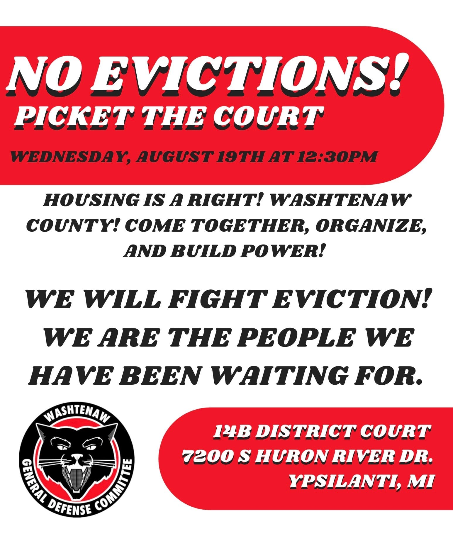 Call to Action: No Evictions! Housing Now!
